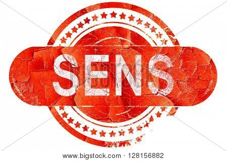 sens, vintage old stamp with rough lines and edges