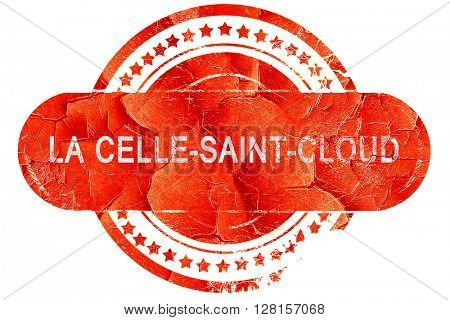 la celle-saint-cloud, vintage old stamp with rough lines and edg