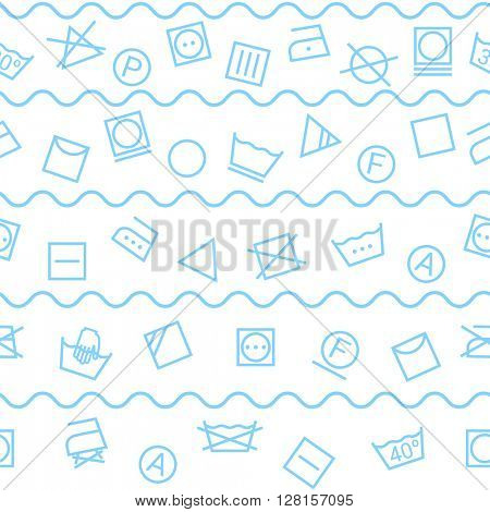 Laundry symbols isolated on white background seamless pattern