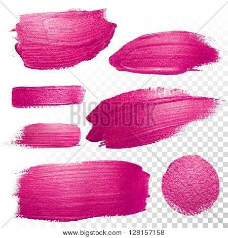 Vector pink watercolor brush stroke set. Abstract polish splash trace shape. Red purple oil paint smear line on transparent background