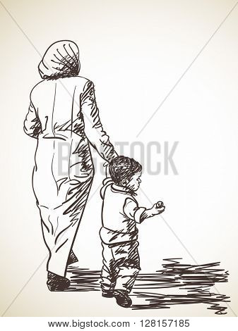 Sketch of walking woman and boy Hand drawn illustration