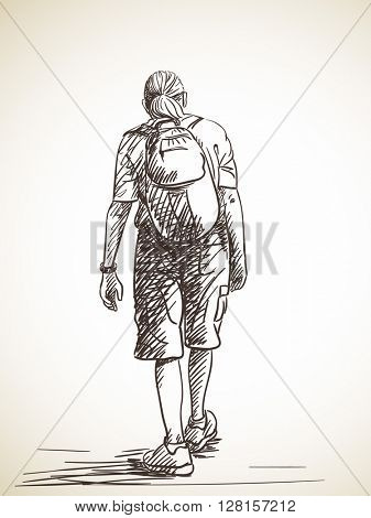 Sketch of walking tall man with backpack, Hand drawn illustration