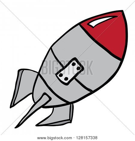 rocket cartoon illustration isolated on white