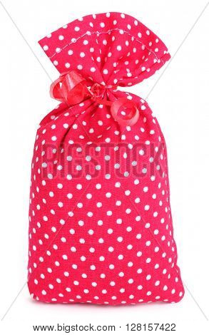 Gift lavender sack dotted cloth bag with red bow