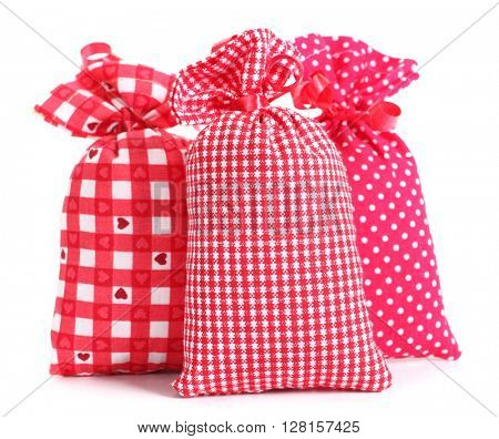 Three gift lavender sacks plaid spotted cloth bags