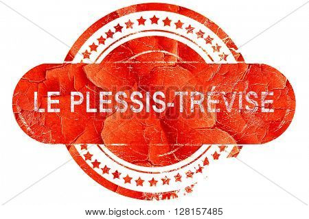 le plessis-trevise, vintage old stamp with rough lines and edges