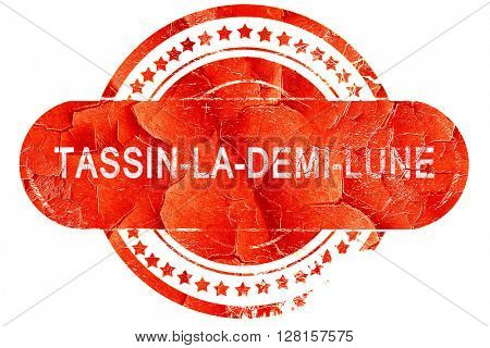 tassin-la-demi-lune, vintage old stamp with rough lines and edge