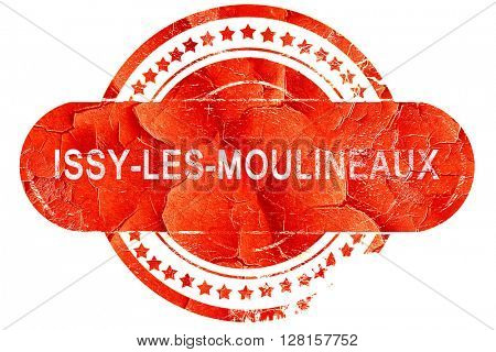 issy-les-moulineaux, vintage old stamp with rough lines and edge
