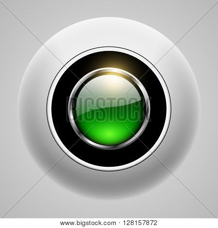 Button 3d green, shiny vector background.