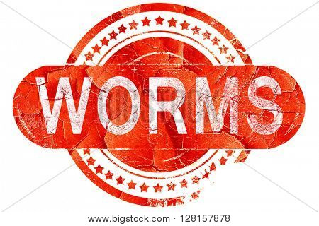 Worms, vintage old stamp with rough lines and edges