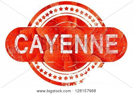 cayenne, vintage old stamp with rough lines and edges