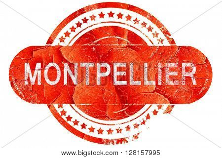 montpellier, vintage old stamp with rough lines and edges