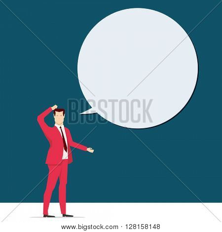 Red suit business people concept vector illustration.