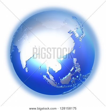 Southeast Asia On Bright Metallic Earth