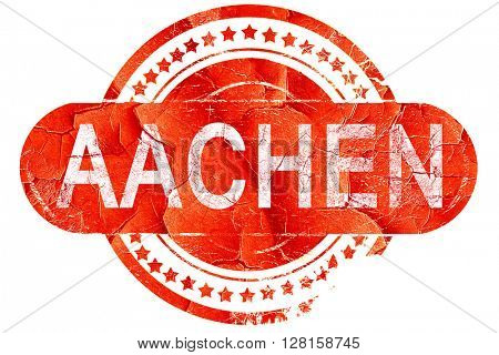 Aachen, vintage old stamp with rough lines and edges