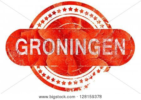 Groningen, vintage old stamp with rough lines and edges