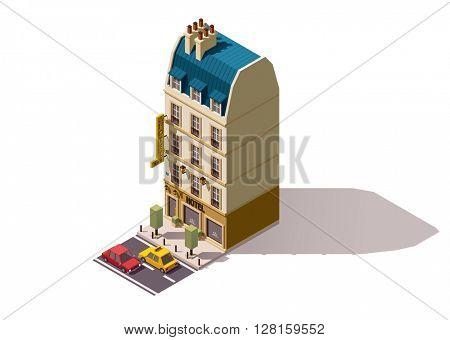 Vector isometric Paris hotel building