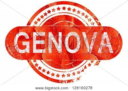 Genova, vintage old stamp with rough lines and edges