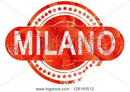 Milano, vintage old stamp with rough lines and edges