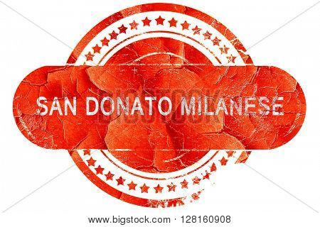 San donato milanese, vintage old stamp with rough lines and edge