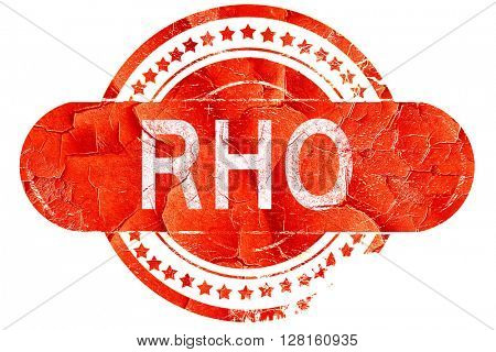Rho, vintage old stamp with rough lines and edges