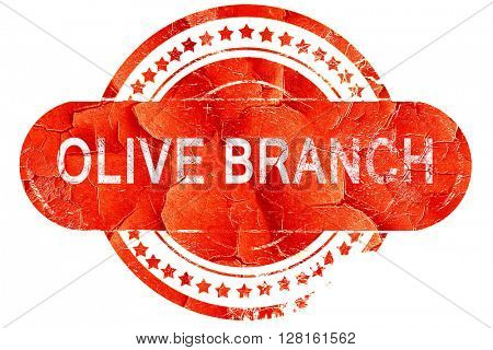 olive branch, vintage old stamp with rough lines and edges