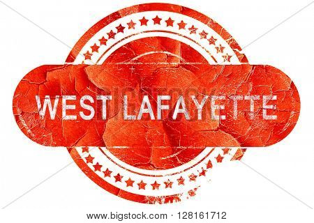 west lafayette, vintage old stamp with rough lines and edges