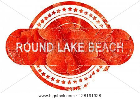 round lake beach, vintage old stamp with rough lines and edges