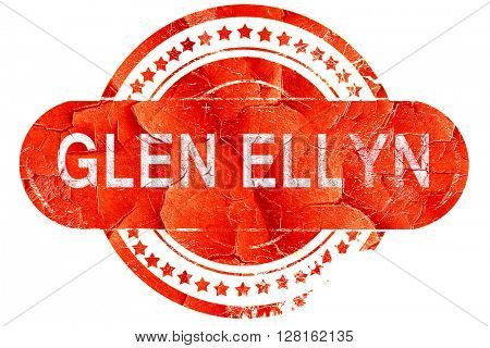 glen ellyn, vintage old stamp with rough lines and edges