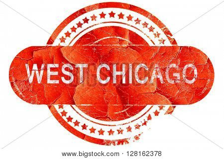 west chicago, vintage old stamp with rough lines and edges