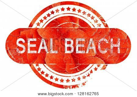 seal beach, vintage old stamp with rough lines and edges