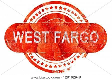 west fargo, vintage old stamp with rough lines and edges