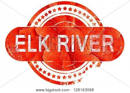elk river, vintage old stamp with rough lines and edges