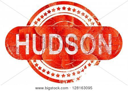 hudson, vintage old stamp with rough lines and edges