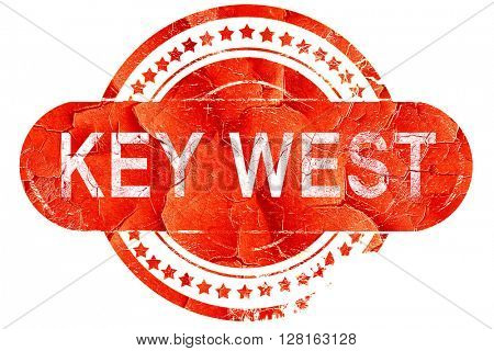 key west, vintage old stamp with rough lines and edges