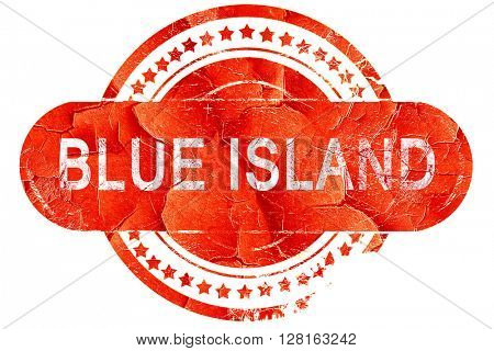 blue island, vintage old stamp with rough lines and edges