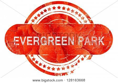 evergreen park, vintage old stamp with rough lines and edges