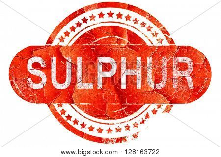 sulphur, vintage old stamp with rough lines and edges