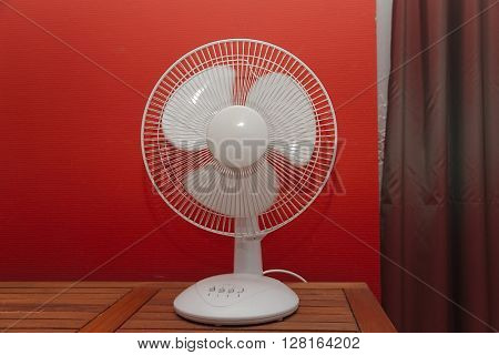 Rotating electric fan in a room