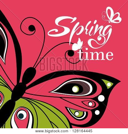Flying butterfly  lettering background. Bright spring illustration