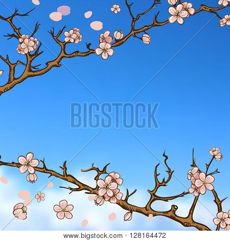 Spring design on blurred background with butterflies and cherry blossom or sakura.