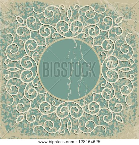 Vintage background oldfashioned ripped grungy paper ornate royal revival frame old sticker victorian ornament floral luxury
