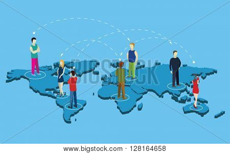 People on  a earth planet map. Flat isometric vector illustration.