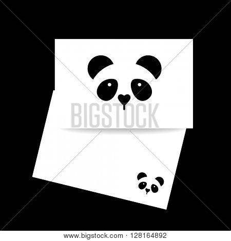 Panda. Identity card design. Panda design idea for logo, emblem, symbol, icon.Vector illustration.