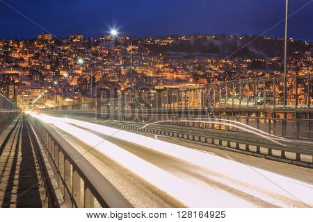 Highway Tromso Bridge to City at dusk, Troms Norway