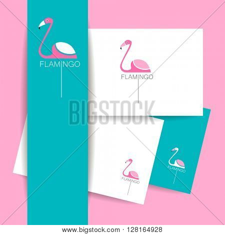 Flamingo logo. Identity presentation template. Flamingo illustration idea for logo, emblem, symbol, icon. Vector illustration.
