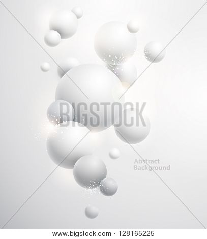 Minimalistic white background with  3D balls.