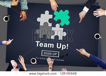 Team Up Teamwork Collaboration Togetherness Concept