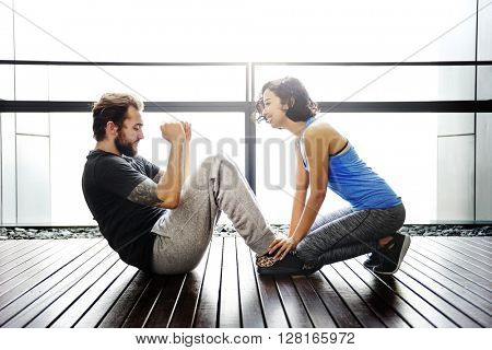 Couple Exercise Adult Athlete Sporty Training Concept