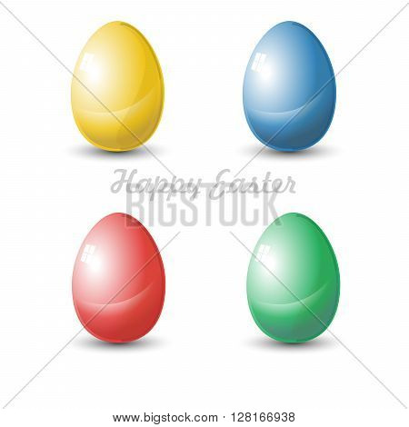 Happy Easter Card. Four isolated Plain Colored Easter Eggs. Digital background vector illustration.